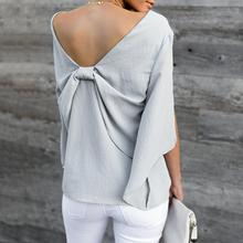 79065cd51f60 Vrouwen Tops Zomer Blouse Sexy V-hals Chiffon Overhemd Strik vrouwen Lange  Mouw Chiffon Shirt