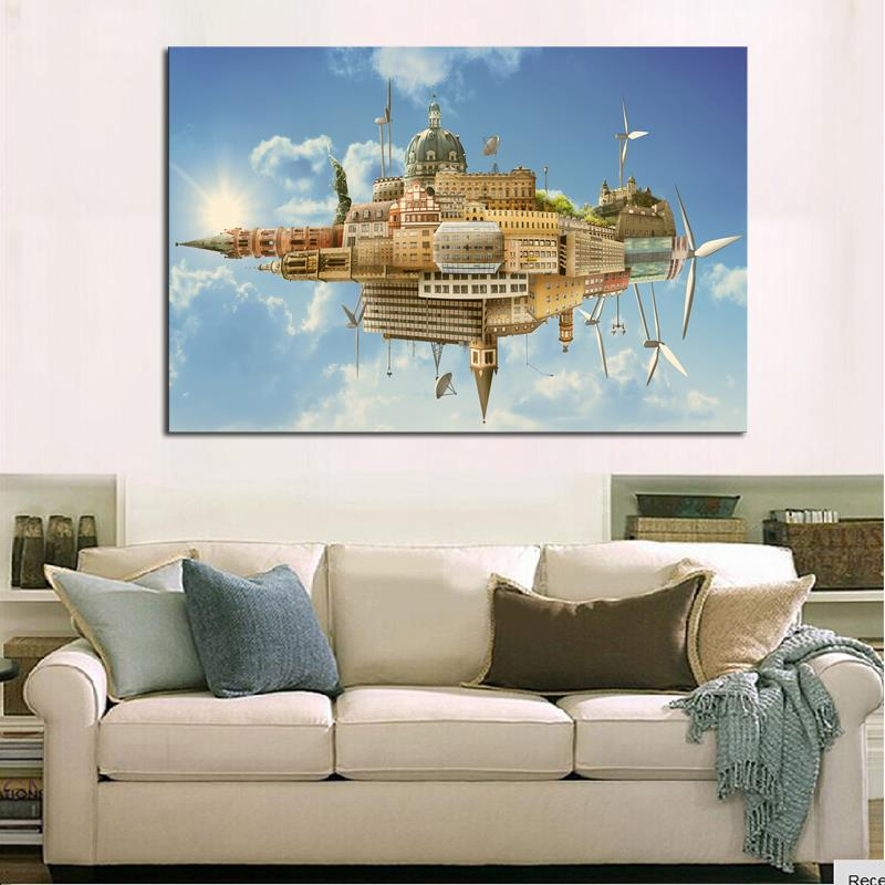 1 Piece Picture Hot Sell Abstract Urban Modern Home Wall Decor Painting Canvas Art HD Print Oil For Living Room