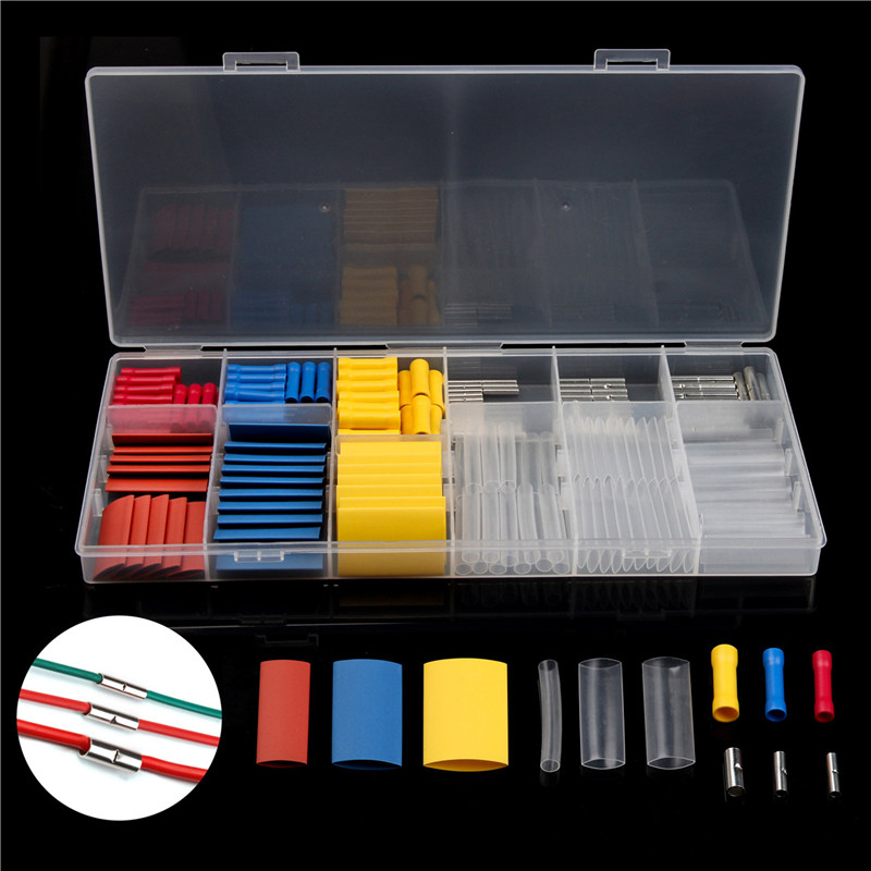 198Pcs Insulated Electrical Wire Butt Crimp Terminals Connectors Set Waterproof Heat Shrink Tube 2:1 Wrap Wire Cable Sleeves Kit 100pcs cable sleeve mixed heat shrink tube wire cable connectors electrical crimp terminal insulated