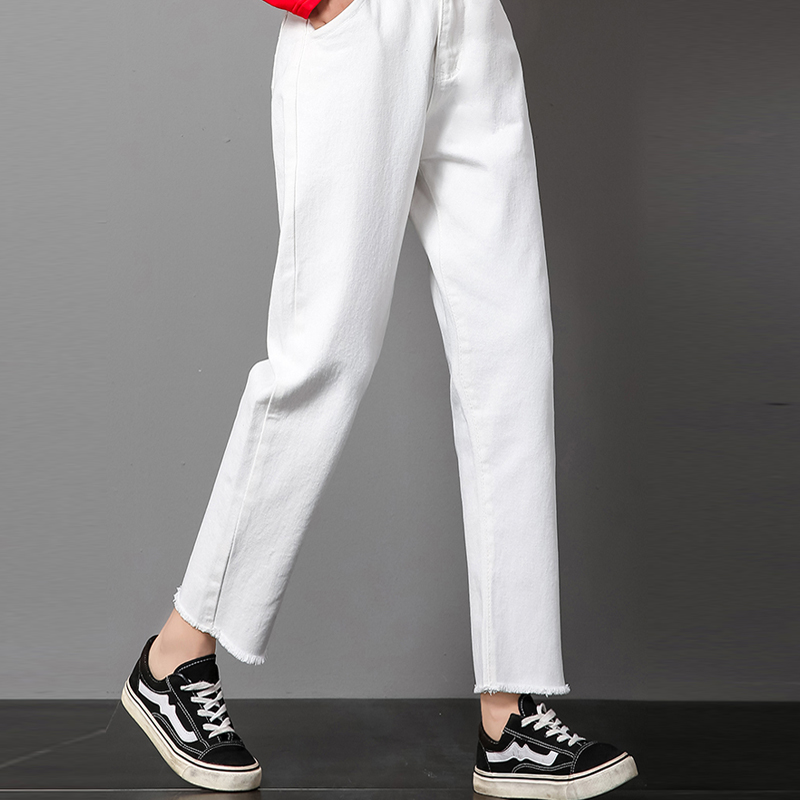 High Waist White   Jeans   Women Straight Casual Mom   Jeans   Autumn New Loose Boyfriend Burr Sexy White Pants Ankle Length Trousers