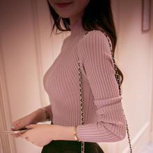 2021 new winter dress Korean all-match slim slim semi turtleneck sweater raglan sleeve bottoming sweaters