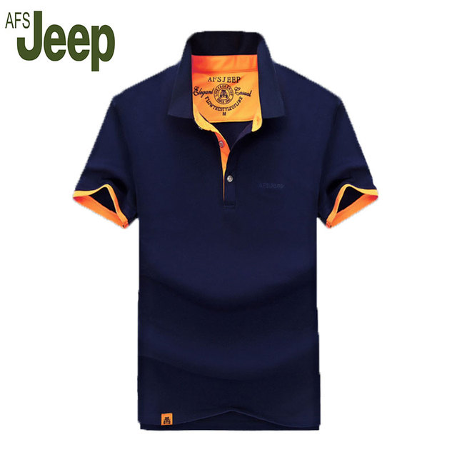2016 AFS JEEP / Battlefield Jeep men's fashion cultivating short-sleeved polo shirt lapel POLO men's solid color casual shirt 55