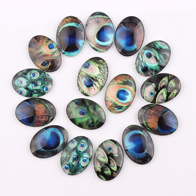 Handmade 4 Size Glass Mix Peacock Feather Oval Flatback Cameo Cabochon Domed DIY Jewelry Charm Photo Pendant Setting