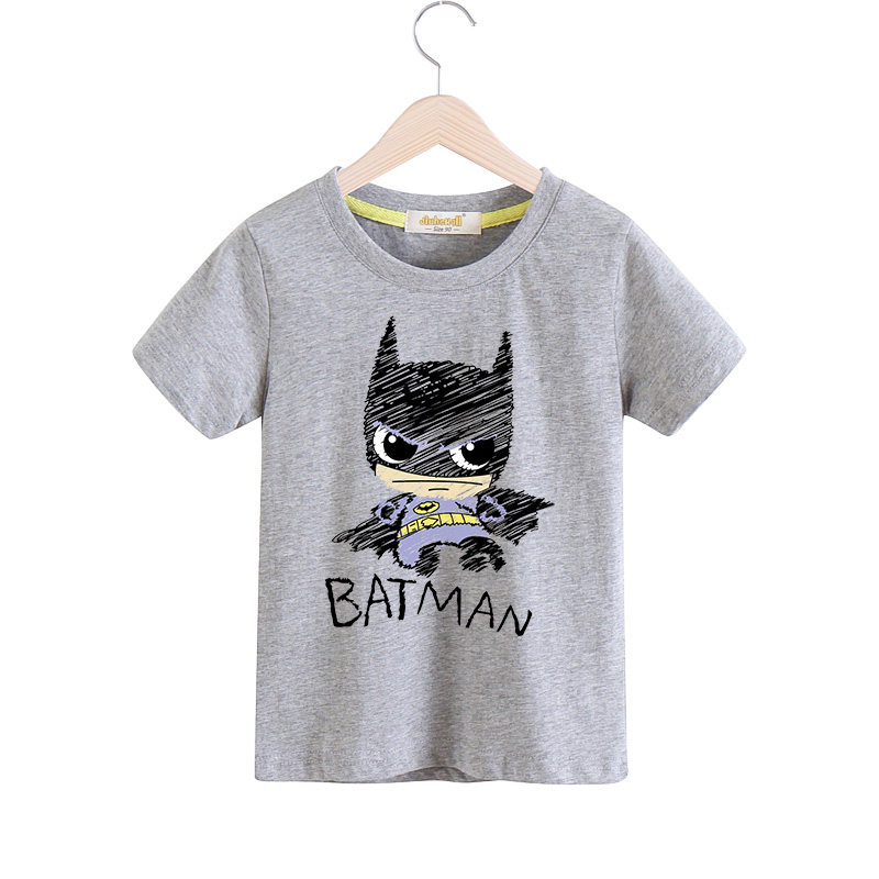 2018 Cartoon Batman T-shirt For Boys Girls 100%Cotton Tshirt Children Summer Tee Tops Clothes Kids Short Sleeves Costume TX023 black hollow out round neck short sleeves t shirt