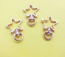 뜨거운 판매 Pentagram 24X34MM 고품질 아연 합금 Carabiner 회전 claspps 열쇠 고리 & 열쇠 고리 로즈 골드 톤