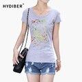 Forme a mujeres la ropa 2015 de la corto-manga de la Camiseta de las mujeres rayado algodón Del color sólido Del O-cuello remata camisetas camiseta