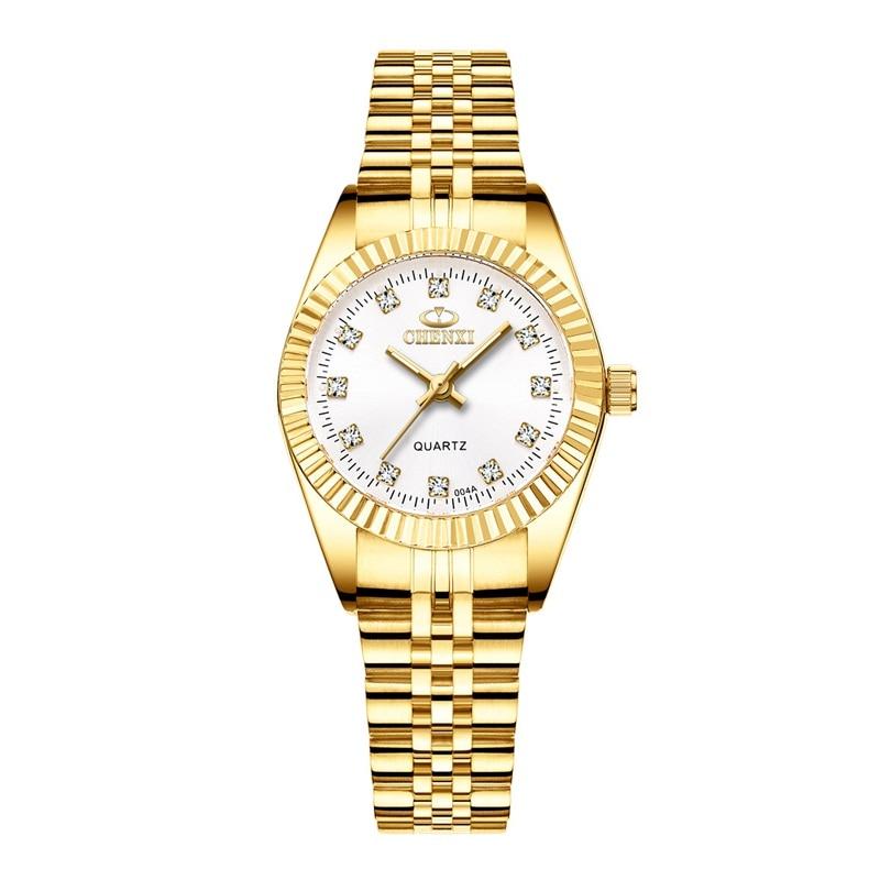 CHENXI Роскошные парные часы золотые модные часы для влюбленных из нержавеющей стали Кварцевые наручные часы для женщин и мужчин аналоговые наручные часы - Цвет: Women White Dial