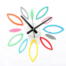 DIY Fun Multicolored Flower Wall Clock Fashion Creative Watch 3D Stickers