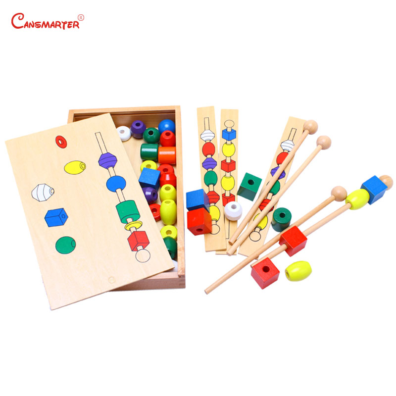 Colorful Wooden Beads Montessori Sensory Educational Toys With Box Preschool Toy Learning Geometric Shape Practice Game SE044-3