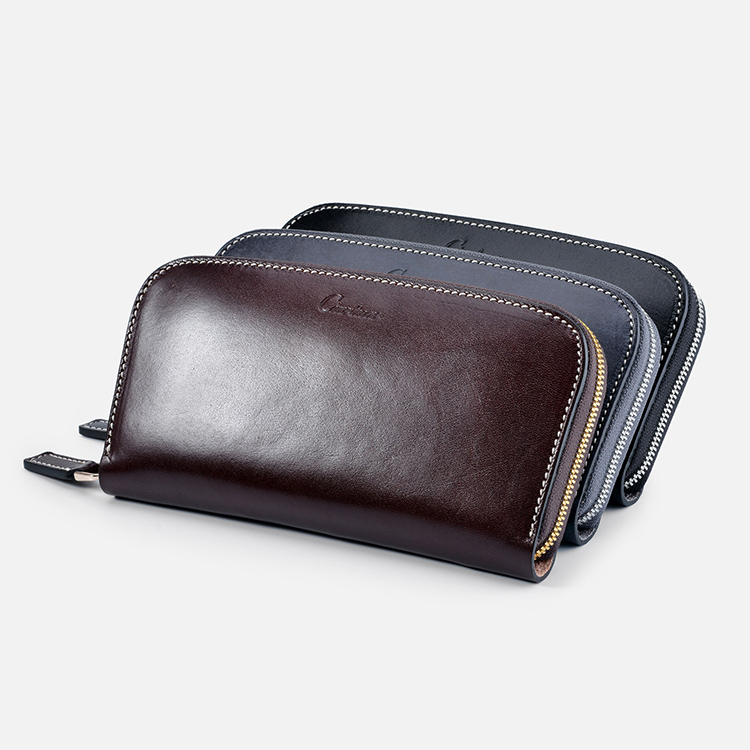 Fashion Luxury brand Leather Men Single zip wallet Long Clutch Bags Card Holder Coin Purse For Men Clutches best quality u box