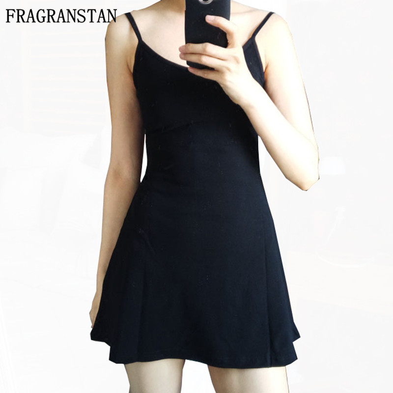 2017 Summer New Fashion Women Sexy Dress Knitted Cotton Backless Slim Aiguillette Spaghetti Strap O-Neck Hollow Mini Dress GH106 iPhone