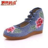 ナショナルスタイル花刺繍靴レースアップ付きハイヒールのパンプス中国heigh増やす布靴女性メアリージェーンズ