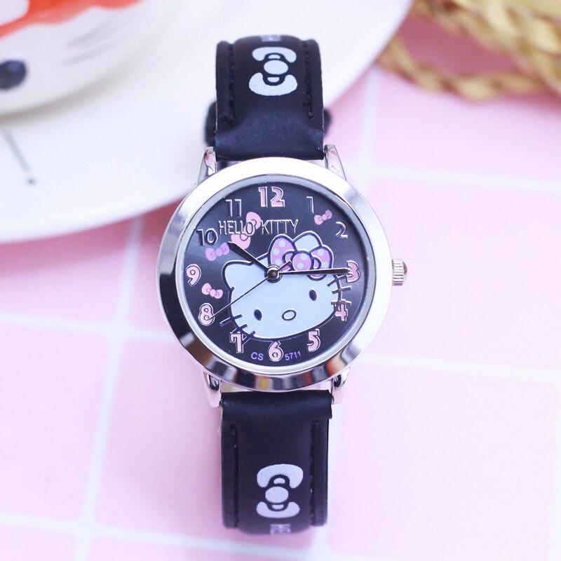 14eb17a12bb8 2018 Hola Kitty dibujos animados relojes chico niñas correas de cuero reloj  de pulsera niños Hellokitty reloj de cuarzo lindo reloj Montre Enfant