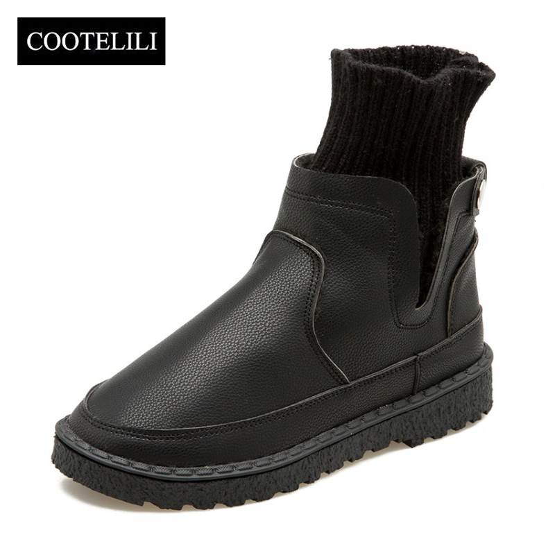 COOTELILI Shoes Woman Socks Ankle-Boots Autumn Winter Fashion Slip-On 35-40 PU Knitted