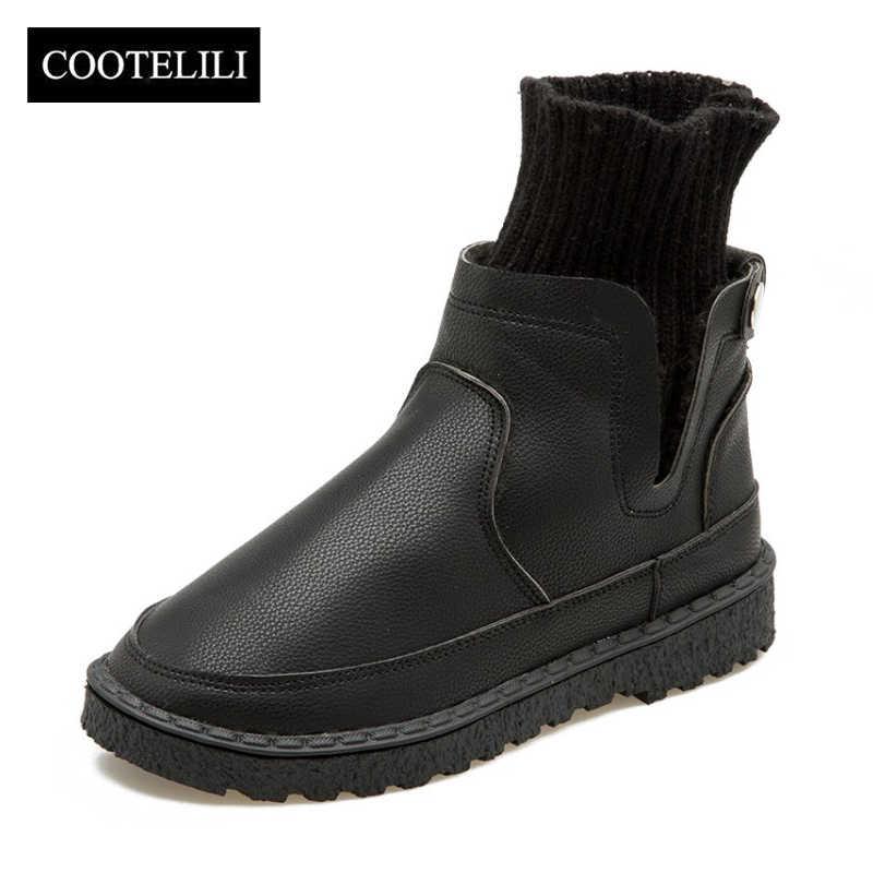 COOTELILI Kadın yarım çizmeler Slip-On moda ayakkabılar Kadın PU Deri Daireler Ayakkabı Sonbahar Kış örme çorap Bayan Botları 35-40