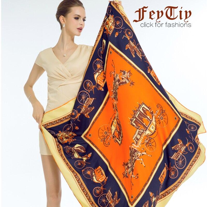 Luxury Twill Silk Scarf For Women Horse Carriage Print Hijab Scarfs Female 130cm*130cm Fashion Square Shawls Scarves For Ladies silk women scarf brand women scarfwomen brand scarf - AliExpress