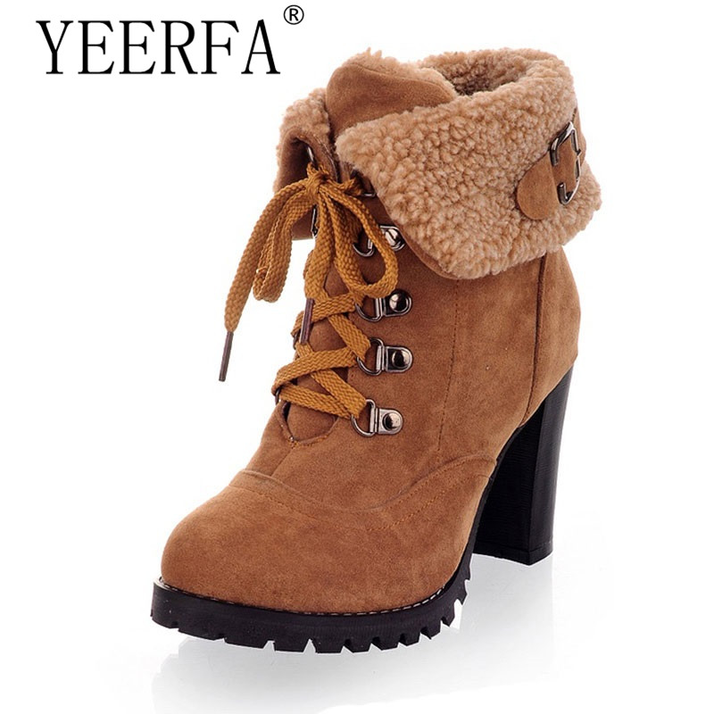 YEERFA 2017 new fashion thick high heels warm snow boots lace up fur inside women's ankle boots platform shoes woman size 35-43 11cm heels 2013 new winter high platform soled high heeled snow boots female side zipper rabbit fur thick heels snow shoes h1852