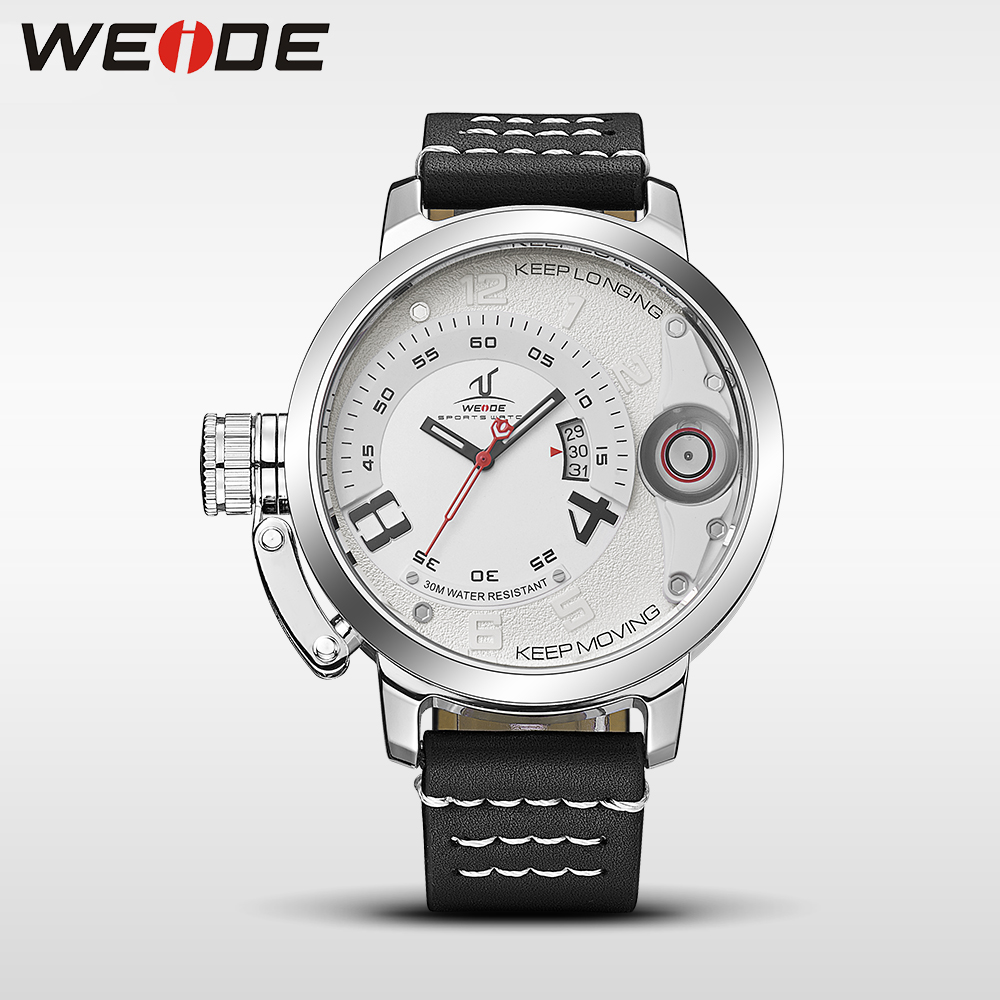 WEIDE men watches top brand luxury men quartz sports wrist watch casual genuine water resistant analog leather white watch man fashionable water resistant glow in dark wrist watch black white 1 x lr626