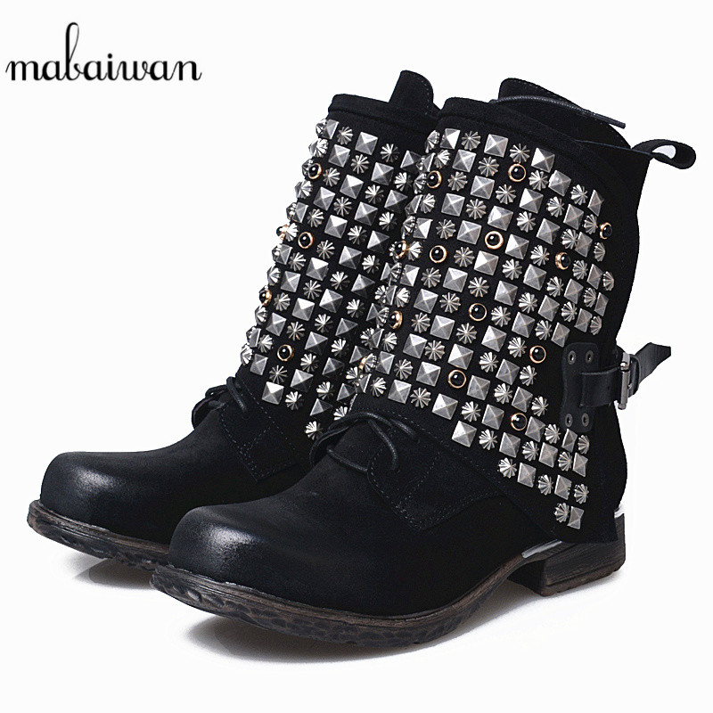Mabaiwan New Casual Women Winter Autumn Ankle Boots Black Genuine Leather Rivets Buckle Shoes Woman Suede Martin Round Toe Boots hxrzyz women chelsea boots spring autumn ankle boots woman hot new fashion of genuine leather round toe suede women winter shoes