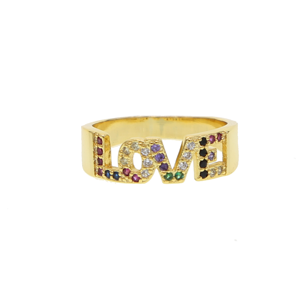rainbow cz letter ring gold color 2018 latest new design love letter jewelry for girlfriend fashion finger rings