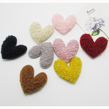 40pcs/lot 4.5cm Plush velvet Heart Padded Appliques DIY handmade Children Hair Accessories and Clothes Sewing