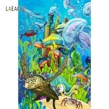 Laeacco Cartoon Seabed World Backdrop Child Portrait Photography Background Customized Photographic Backdrops For Photo Studio