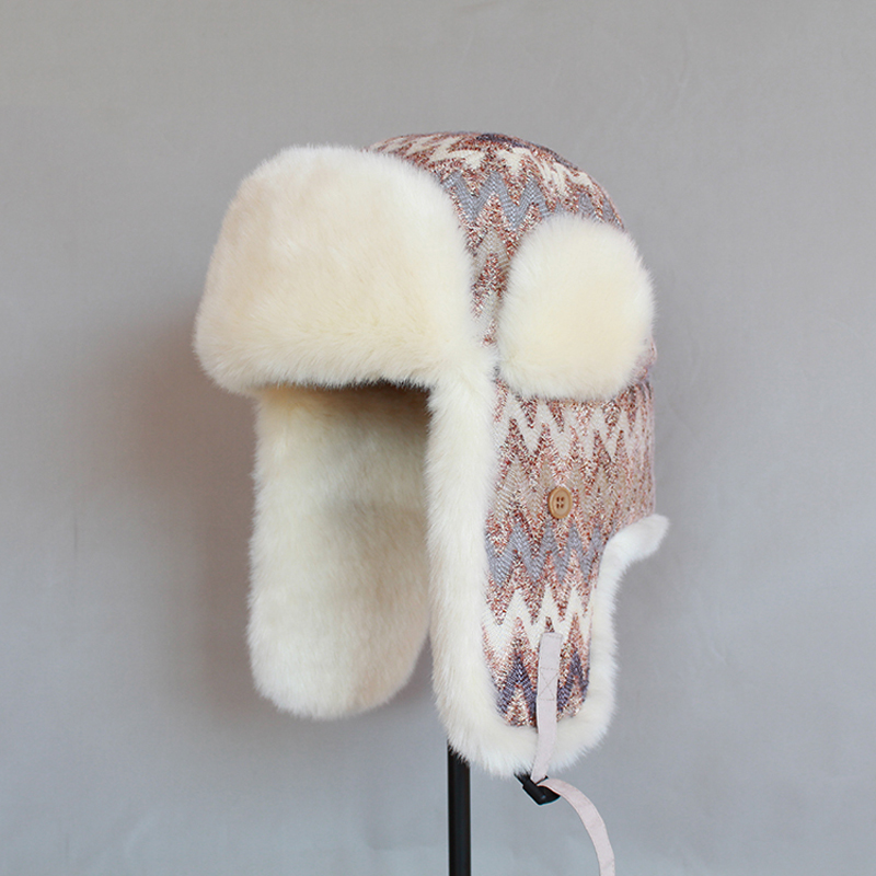 82d54527 Winter Bomber Hat for Women Faux Fur Russian Hat Ushanka Earflaps Vintage  Female Pilot Aviator Trapper Cap with Ear Flap