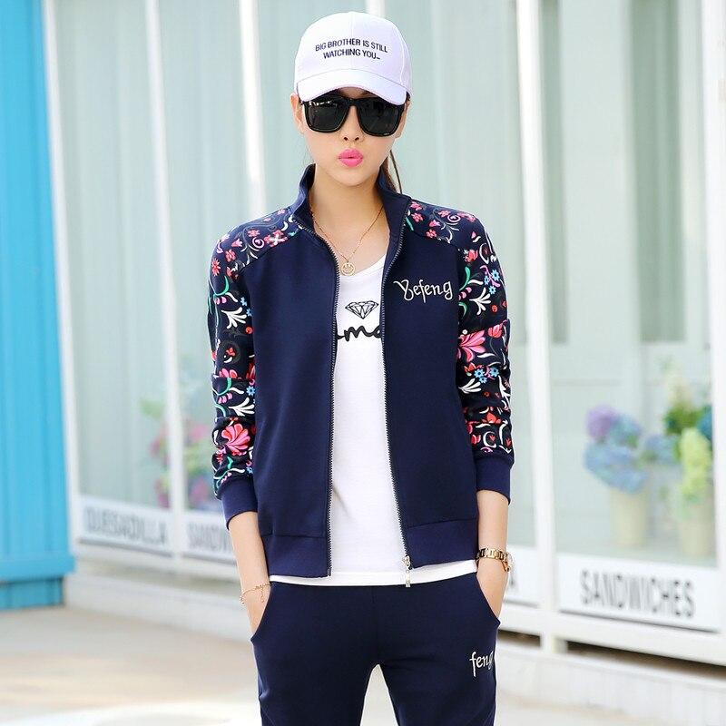 Бесплатная доставка женские комплект одежды костюм 3-1 предмет Весна 2016  Осень мода печатных survetement Femme повседневная спортивная одежда f2139a084a9