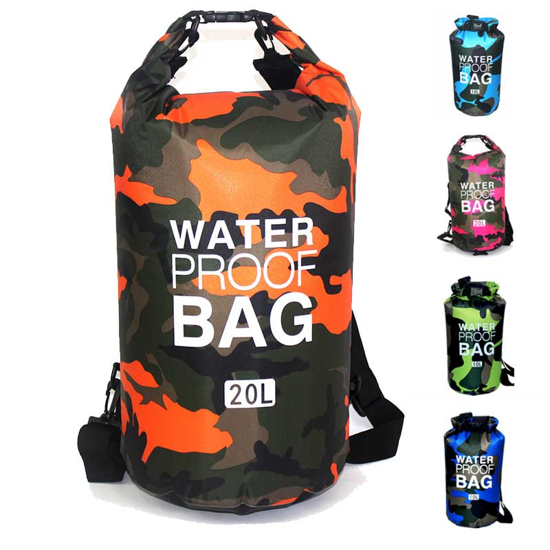 Outdoor Camouflage Portable Rafting Diving Dry Bag Sack PVC Waterproof Folding Swimming Storage Bag for River Trekking 2/5/10L waterpro pvc dry bag travel bag diving equipment bag 80l marble black