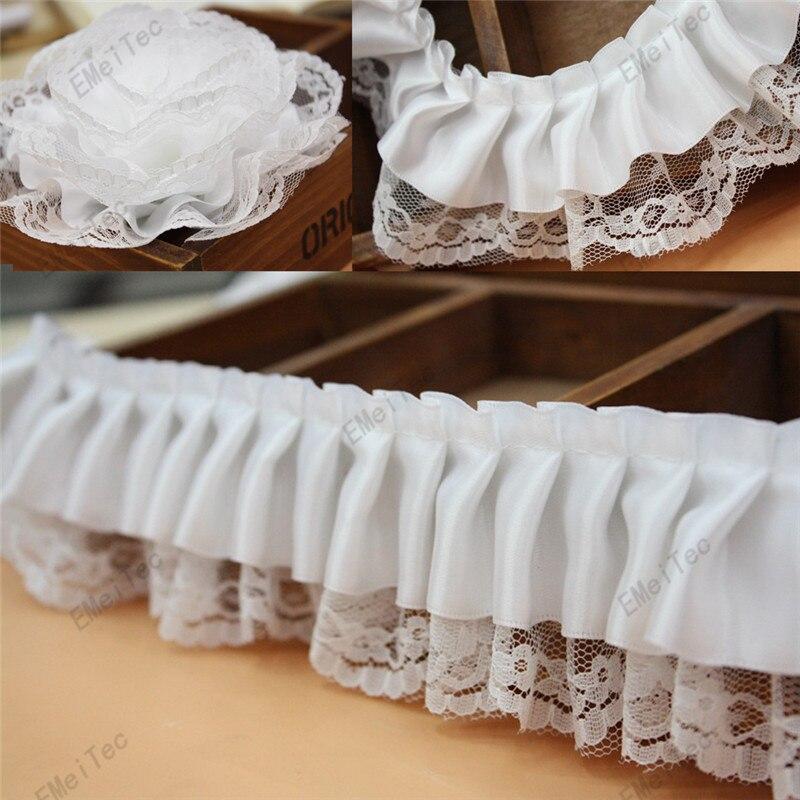 bd4951a9ed13f 10yds الكثير 6 سنتيمتر أبيض صافي مطوي الرباط الديكورات ، diy الكشكشة الرباط  تريم أشرطة الزفاف الديكور دمية اللباس الملابس الملحقات