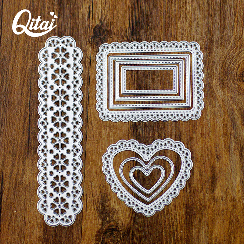 QITAI Cutting Dies Metal Strip Benevolence Square Frame Shape Delicate Pretty Paper Cutter Metal Material DIY Scrapbooking D15