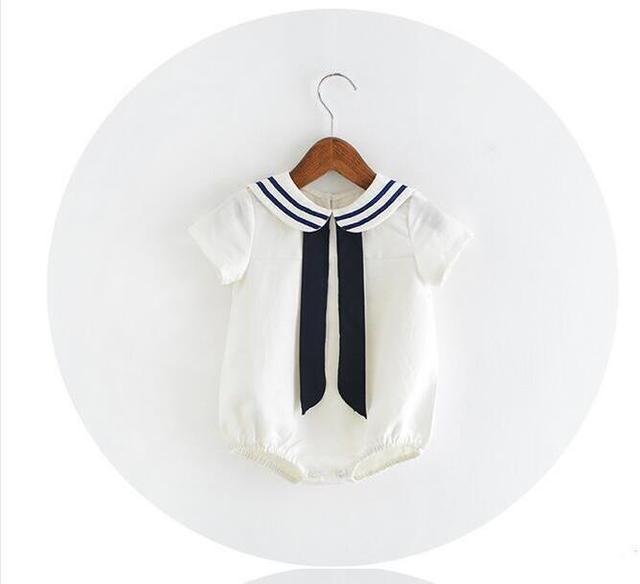 Yab2811332 varejo 2016 nova moda bebê recém-nascido Ramper bebê Bodysuits Soilor Collar Casual crianças roupas da moda roupa dos miúdos