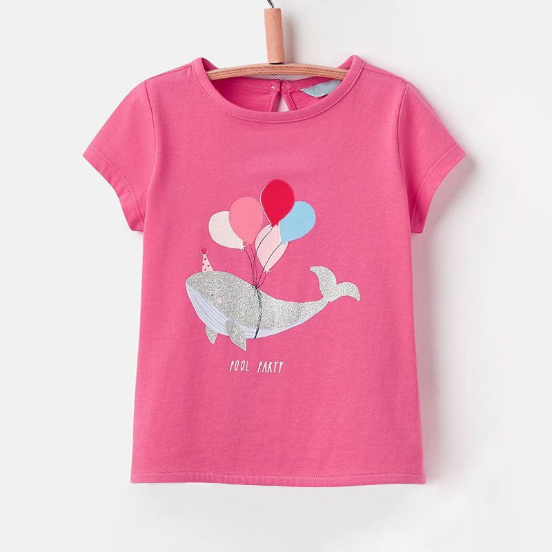 Kids Girls Pink T-Shirts for Summer Children Short Sleeve tshirts Little Baby Clothings 1-6Years Whales and Balloons Pattern