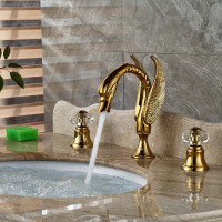 Wholesale And Retail Deck Mounted Golden Brass Bathroom Swan Faucet Crystal Handles Vanity Sink Mixer