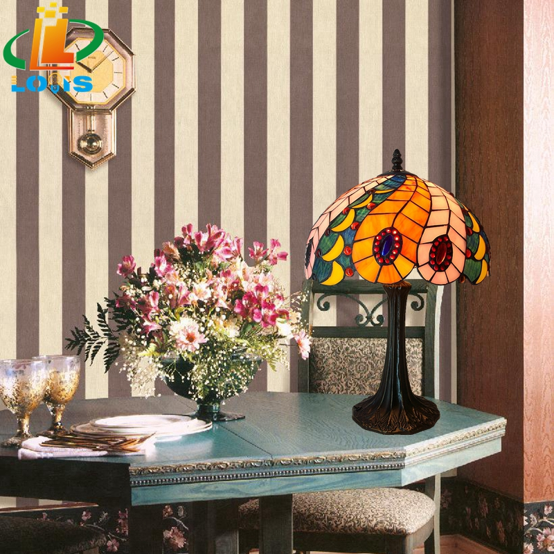 30CM peacock tail lamps Tiffany lamp warm fashion art lighting bedroom bedside accessories European-style Retro