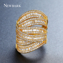 NEWBARK Newest Design Ring Bohemia Gold-color Big Rings For Women Centrosymmetric Channel Setting Jewelry 5 Multi-layer CZ Gift