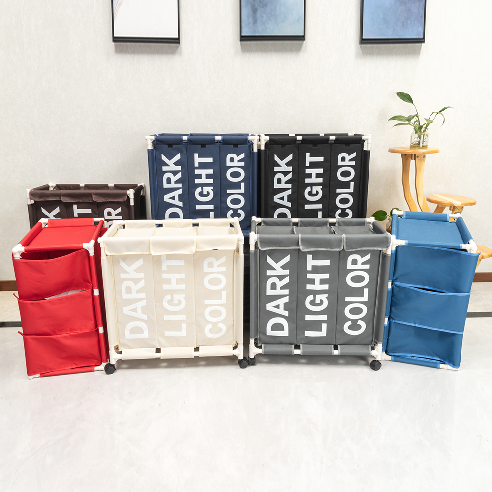 Shushi  Waterproof X-Large Laundry Basket Collapsible Wheeled Laundry Hamper Heavy Duty Laundry Sortor Dirty Clothes Organizer