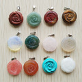 Wholesale 2016 new fashion hot-selling assorted natural stone Rose flower charms pendants 12pcs/lot free shipping