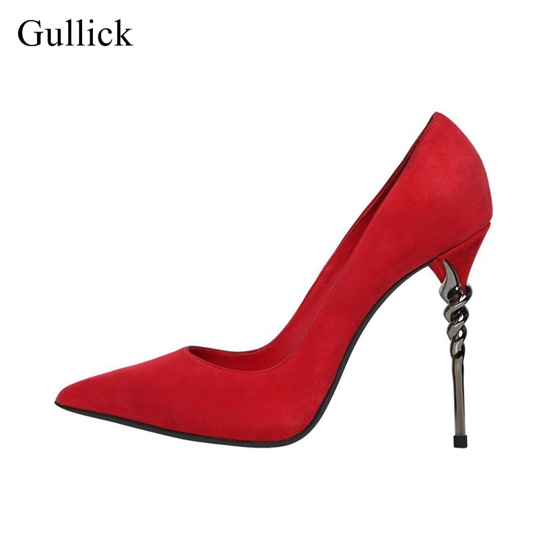 Sexy Red Flock Metal Heels Women Pumps Pointed Toe Slup-on Thin Heel Dress Shoes 2018 Spring Autumn Bride Heels Pumps Big Size sexy white pearls bead high heel pumps for women pointed toe slip on wedding dress shoes bride heels lady pumps big size 10
