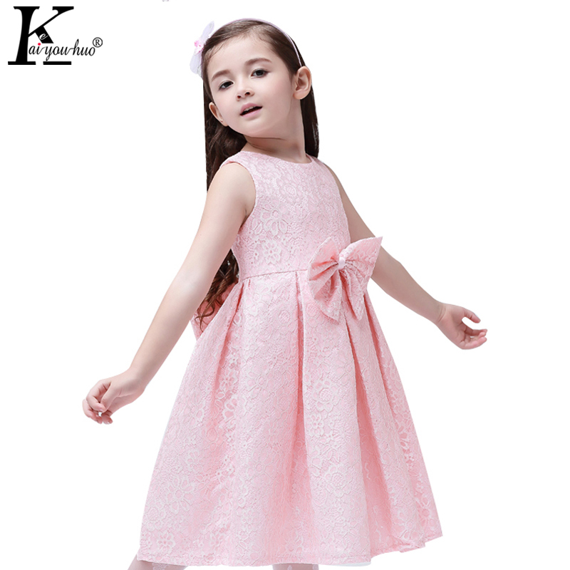 2017 Summer Clothing New Baby Girl Clothes Birthday Party Princess Dresses Sleeveless Big Bowknot Lace Girls Dress Kids Vestido 2016 baby girl flutter sleeves summer birthday princess dress cotton frock designs teen kids clothing bulk clothes teenagers