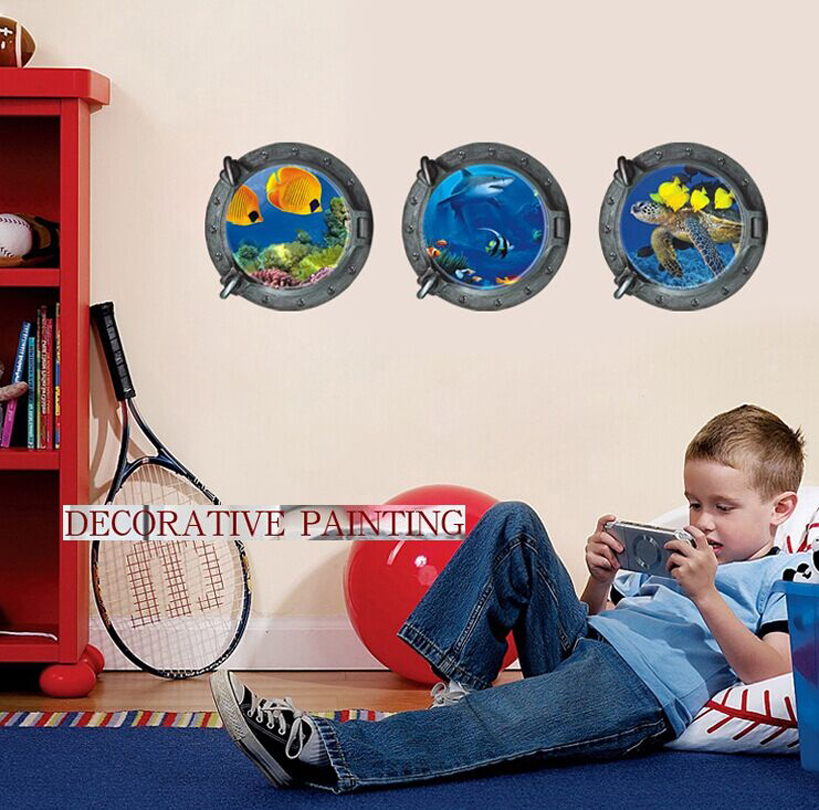28e6aae864c534 Malowidła ścienne podmorski świat 3D trójwymiarowe naklejki ścienne  Naklejki Ścienne do domu hotelu pokoju łazienka Dekoracje ścienne 3 p/1