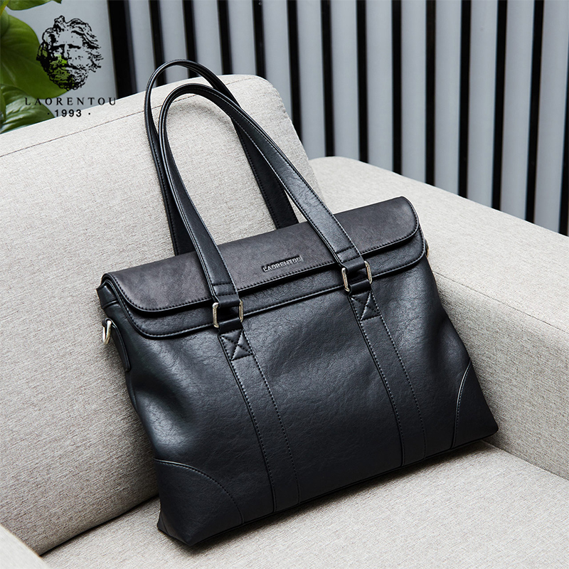 LAORENTOU Men Shoulder Bag Business Briefcase Leather Crossbody Bag High Quality Handbag Brand Luxury Bags Tote for Men