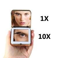1 шт. женский светодиодный складной макияж зеркала женская косметика ручной складной портативный компактное карманное зеркало 1/10X увеличит...
