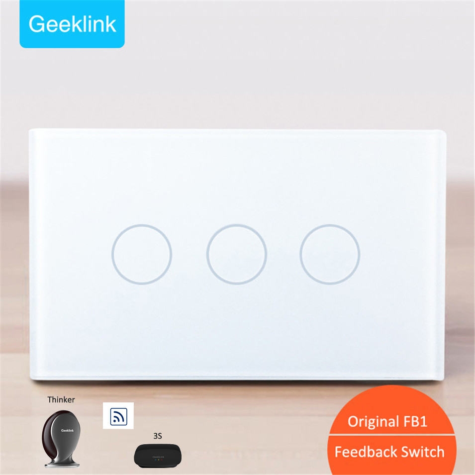 New Original Geeklink US 118 Two-way Feedback Switch 3 gang WIFI Touch Remote Control AC110V/220V 10A for RemoteBox 3S Thinker 431233 521233431433 ultra durable iron generals original remote control two way remote control batteries