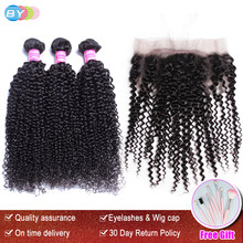 BY Pre Plucked 360 Lace Frontal With Brazilian Kinky Curly 3 Bundles With 360 Frontal Closure Human Hair Weave Remy 4 Pcs(China)