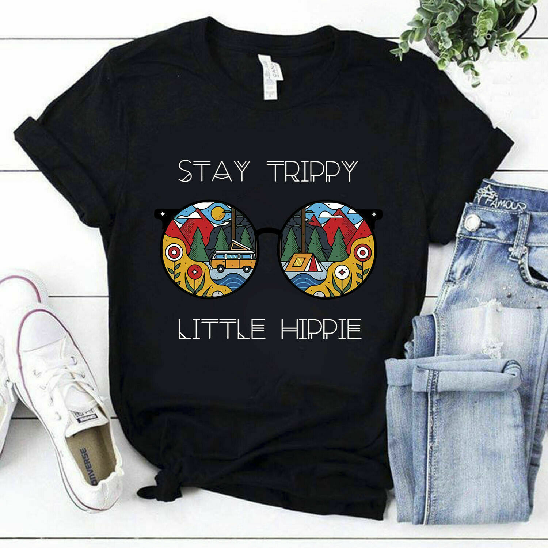 Camping Stay Trippy Little Hippie Glasses Black Tshirt M 6Xl