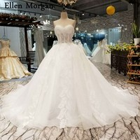 Ivory Lace Ball Gowns Wedding Dresses 2018 Stones Custom Made Sexy See Through Sweetheart Corset Elegant Bridal Gowns
