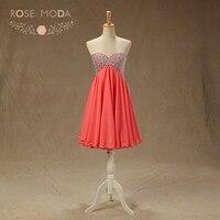 Rose Moda Bling Coral Short Prom Dress Crystal Beaded Prom Dresses Party Dress 2018 Custom Made