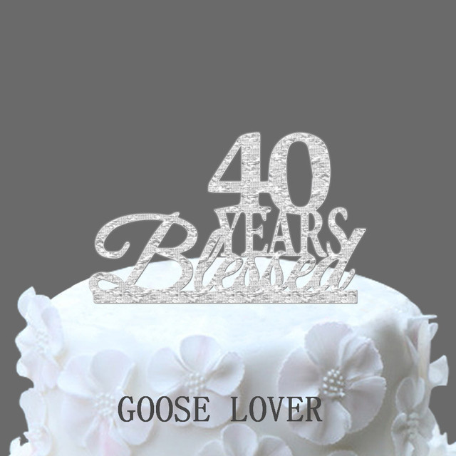 Bling Custom 40 Years Blessed Cake Topper Boutique Birthday Decorative Anniversary Supply
