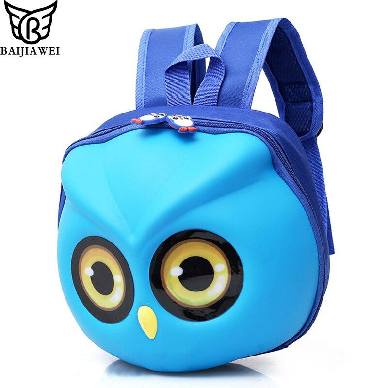 BAIJIAWEI Owl Cartoon Cute Mini Bag EVA Anti-lost Children's Bags Kindergarten Backpack Kids School Bags Cute Children Backpack